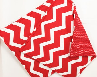 Red Chevron Potholders, Red and White Pot Holders, Set of 2 Handmade Red Chevron Potholders, Fabric Potholders, Red Chevron Kitchen Decor