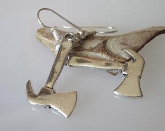 Tool Earrings, Weapon Jewelry, Viking Battle Axe, Medieval Axe, Silver Axe, Hatchet Tool, Mens Dangle Earrings