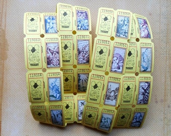 Your choice of Alice in Wonderland RAFFLE TICKETS- 12 Tickets per set- Alice in Wonderland party games Wonderland raffle  Alice party favors