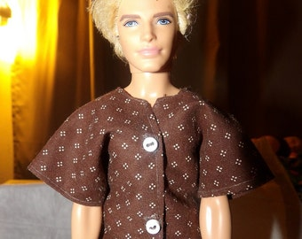 Brown & white dotted shrt for Male Fashion Dolls - kdc40