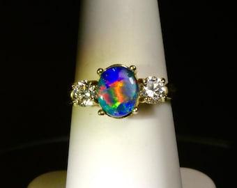 "Black Opal engagement ring. 1/3 carat diamond Engagement ring & matching stackable diamond wedding band. Opal engagement ring. Design ""N"""