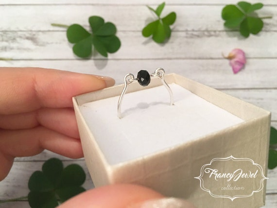 Valentine's gift, ring, black crystal, silver ring, crystal ring, handmade jewelry, made in Italy, birthday gifts, wedding gift, unique ring