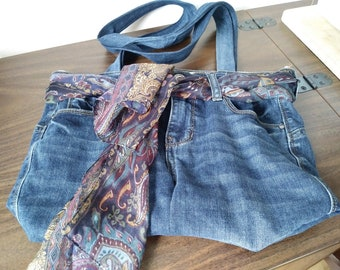 Handbag made from recycled jeans