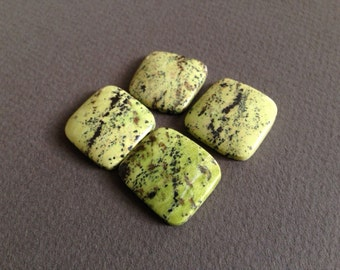 Large Green Serpentine Square Cabochons - Set of 4