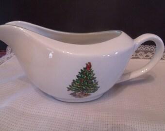 vintage Porcelain Gravy Bowl with Christmas Design, (# 421/14)