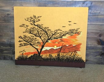 70's Crewel Embroidery Sunset with Mountains