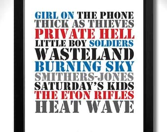 THE JAM -Setting Sons Album Limited Edition Unframed A4 Art Print with Song Titles