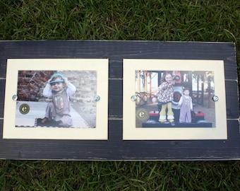 Distressed Picture Frame, College Frame, Double 5x7 Frame, Rustic Picture Frame, Black Frames
