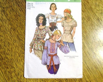 """1970s BOHO Chemise w/ Lantern Sleeves / EASY Hippie Shirt / Peasant Top - Size 12 (Bust 34"""") - VINTAGE Sewing Pattern Simplicity 9313"""