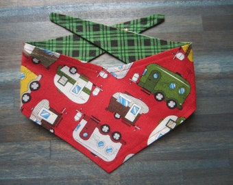 XS reversible tie on dog bandana - red camper trailers/green black plaid