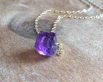 Raw Amethyst Necklace - Raw Crystal Necklace - Amethyst Jewelry - Raw Stone Necklace - February Birthstone - Healing Crystal Necklace