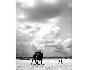 Beach Photography - Lifeguard Chair Fine Art Photo - Black and White Print - St Augustine Florida - 8x10