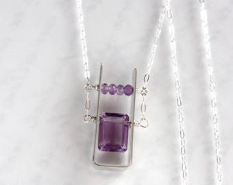 Purple Amethyst Necklace, Amethyst Sterling Silver Necklace - Modern Design, As Seen at GBK's 2018 Pre-Oscars Celebrity Gift Lounge