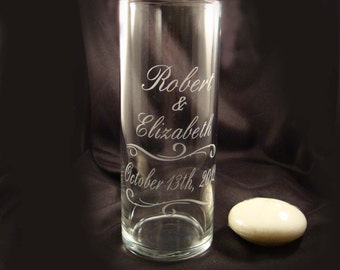 Personalized Unity Candle Vase - Personalized Etched Unity Candle Vase - Wedding Unity Ceremony - Unity Candle - Personalized Vase