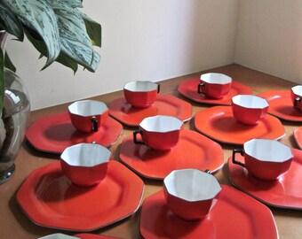 Solian Ware Snack Set, Antique Dishes, Vintage Dishes, Kitchen Plates, Dishware Set, SOHO Pottery, Vintage Dinnerware, Red Dinnerware