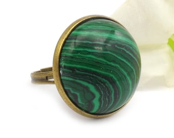 Adjustable Green Malachite Ring, Green and Black Cocktail Ring, Statement Ring