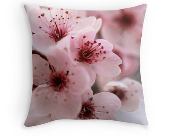 Limited Edition - Sakura (Japanese cherry blossom photo throw pillow cushion cover, macro pastel blush pale pink bloom spring flowers)