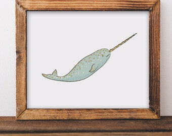 Narwhal Giclee Art Print • For Sea Creature Enthusiasts to Nursery Decor