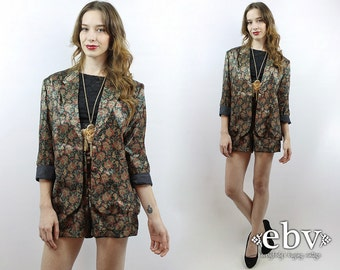 Vintage 80s Custom Black Paisley Blazer + Shorts Outfit L Shorts Suit Two Piece Set Two Piece Outfit Matching Set High Waisted Shorts