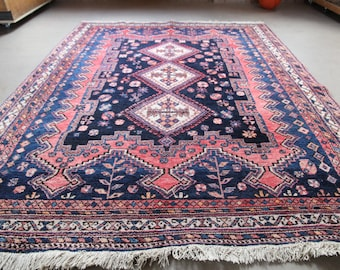 Fine Persian Rug 210x160 cm, Hand Knotted 100% Wool, Vintage Old Oriental Rug, Excellent Condition