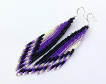 Shoulder Duster Earrings. Native American Earrings Inspired. Extra Long Earrings. Beadwork.