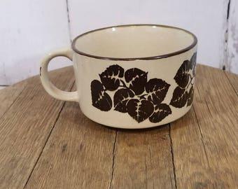 Vintage Coffee Mug, Vintage Floral Coffee Mug, Vintage Coffee Cup, Vintage Floral Coffee Cup, White and Brown Floral Mug, Retro Coffee Mug