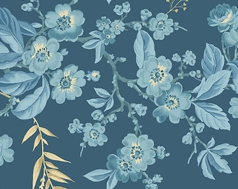 Yardage, Something Blue 8822-B Dark Blue Bouquet by Edyta Sitar from Andover Fabrics, Traditional Quilt, Reproduction Fabric