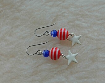 Patriotic - Titanium Earrings, Niobium Earrings, or Surgical Steel Earrings - Hypoallergenic Earrings for Sensitive Ears // Nickel Free