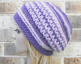 Crochet hat boho style slouchy beret in purple mauve lavender OOAK crocheted warm beanie READY MADE