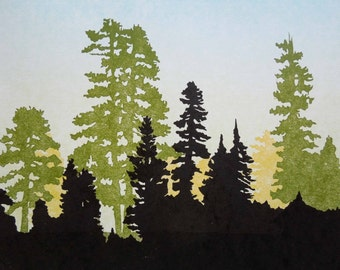 Shirley Canyon, Squaw Valley California, Letterpress Printed Linocut