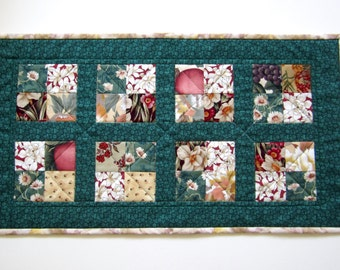 """Quilted Table Runner """"Flower Medley"""" Small Tablerunner, Patchwork Quilt, Quiltsy Handmade, Table Topper, Mini Quilt, Table Mat,Scrappy Quilt"""