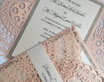 Laser Cut Wedding Invitation, Doily Laser Wedding Invite, Bohemian Wedding Invite, Doily Wedding Invitation, DOILY 1 - Coral BLUSH GLITTER