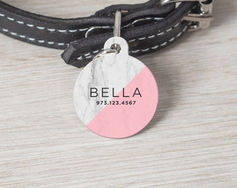 Personalized Pet Tag, Round Pet Tag, Custom Cat Tag, Dog Tag, Custom Pet Tag, Pet Name Tag, Custom Dog Tag, Marble pink tag, Tag 008