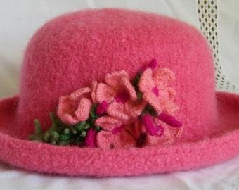 Hand Knit Wool & Mohair Felt Hat - Rose w Mountain Pinks/Creeping Phlox