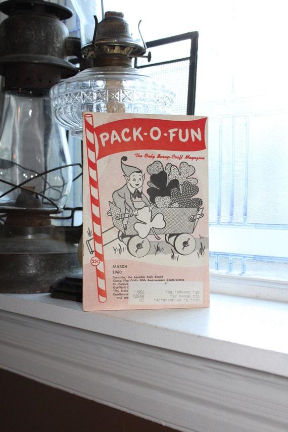 Vintage 1960s Pack-O-Fun Crafts Book Scrap Craft Magazine March 1960
