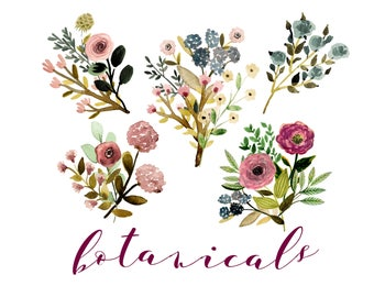 Floral Clipart Wedding Watercolor Rustic Invites