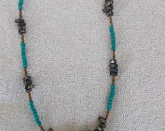 Handcarved Aqua engraved Stone Necklace