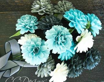 Paper flower templates- DIY paper flower dahlia- PDF flower patterns- Small paper flowers - flower tutorial-  paper wedding bouquet