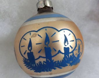 Vintage Christmas ornament, stencil ornament, striped ornament, mercury glass ornament, silver and gold, blue candles, Made in USA