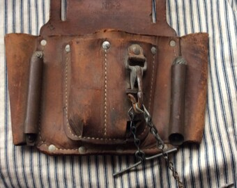 VINTAGE LEATHER TOOLBELT, pouch, fannypack, festival gear, channelock, inc