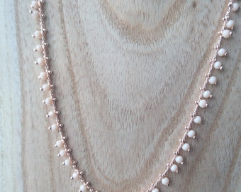 Necklace pink rose Gold Plated beads