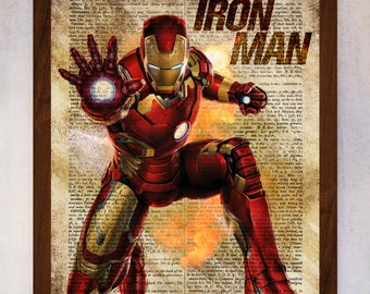 Iron Man Art Print, Iron Man Poster, Book Art Print, Dictionary Page Print, Marvel Art, Iron Man Artwork, Avengers Art Print, Superhero Art