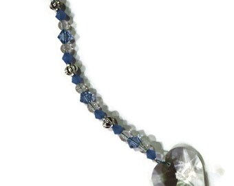 Love HEART Crystal Sun Catcher Ornament 30mm Blue and Periwinkle Beads Rainbows Feng Shui