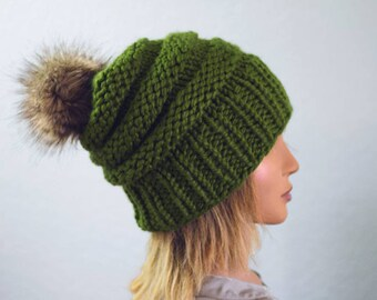 Knit Pom Beanie | READY TO SHIP | Slouchy Beanie | Pom Beanie