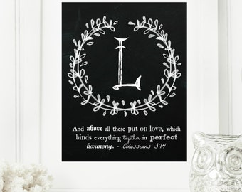 """Instant """"Family Monogram Scripture"""" Chalkboard Wall Art Print 8x10 Typography Letter """"L"""" Printable Home Decor"""
