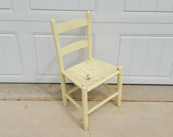 Vintage Chippy Yellow Wood Children's Chair Woven Seat