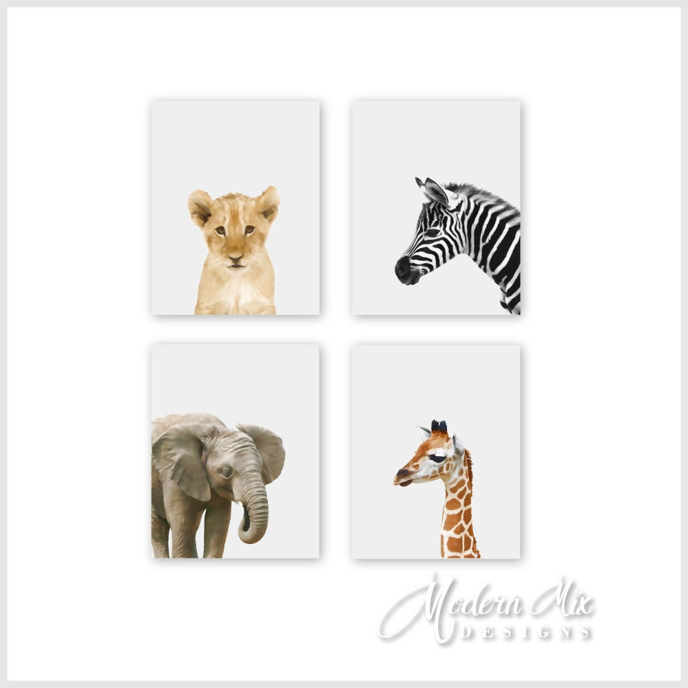 Safari animal prints nursery decor baby animal prints safari for Animals decoration