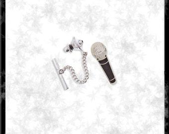 Silver & Cloisonné Microphone Tie Tack