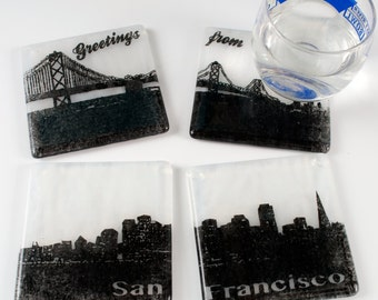 Greetings from San Francisco Skyline Coasters - Made to order