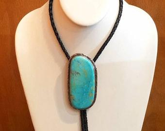 Vintage Native American Navajo Handmade Large Turquoise Bolo Tie